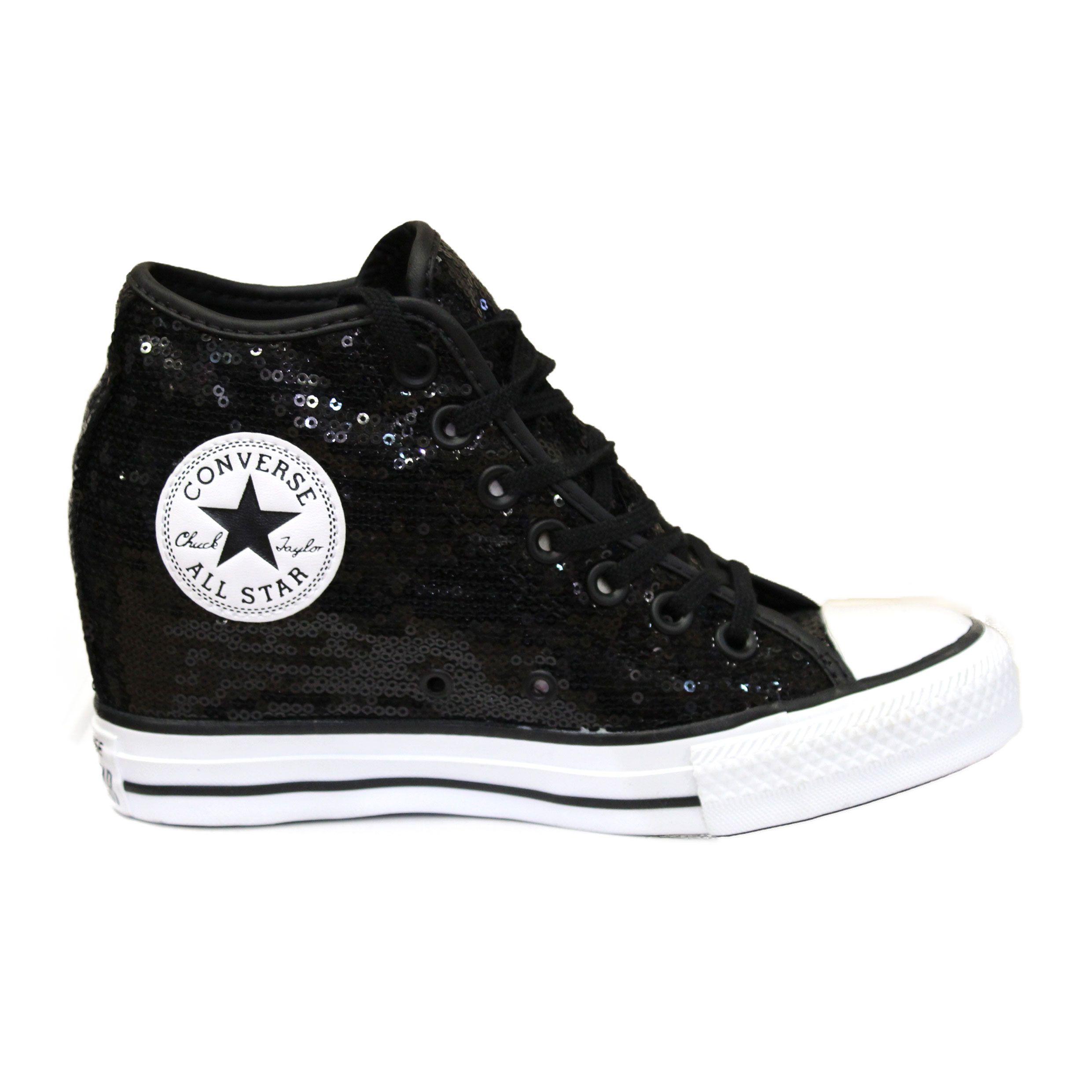 converse all star platform in pelle alte nere con glitter
