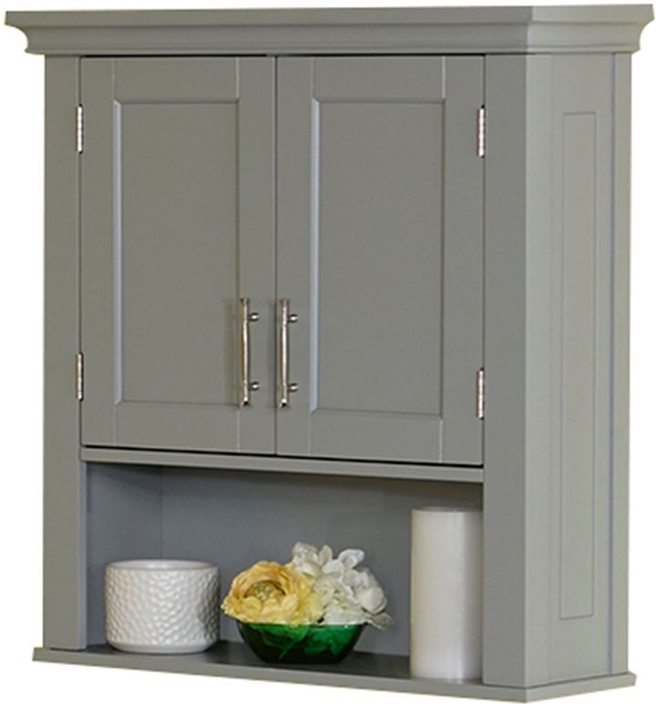Over the toilet storage in gray. Very on trend