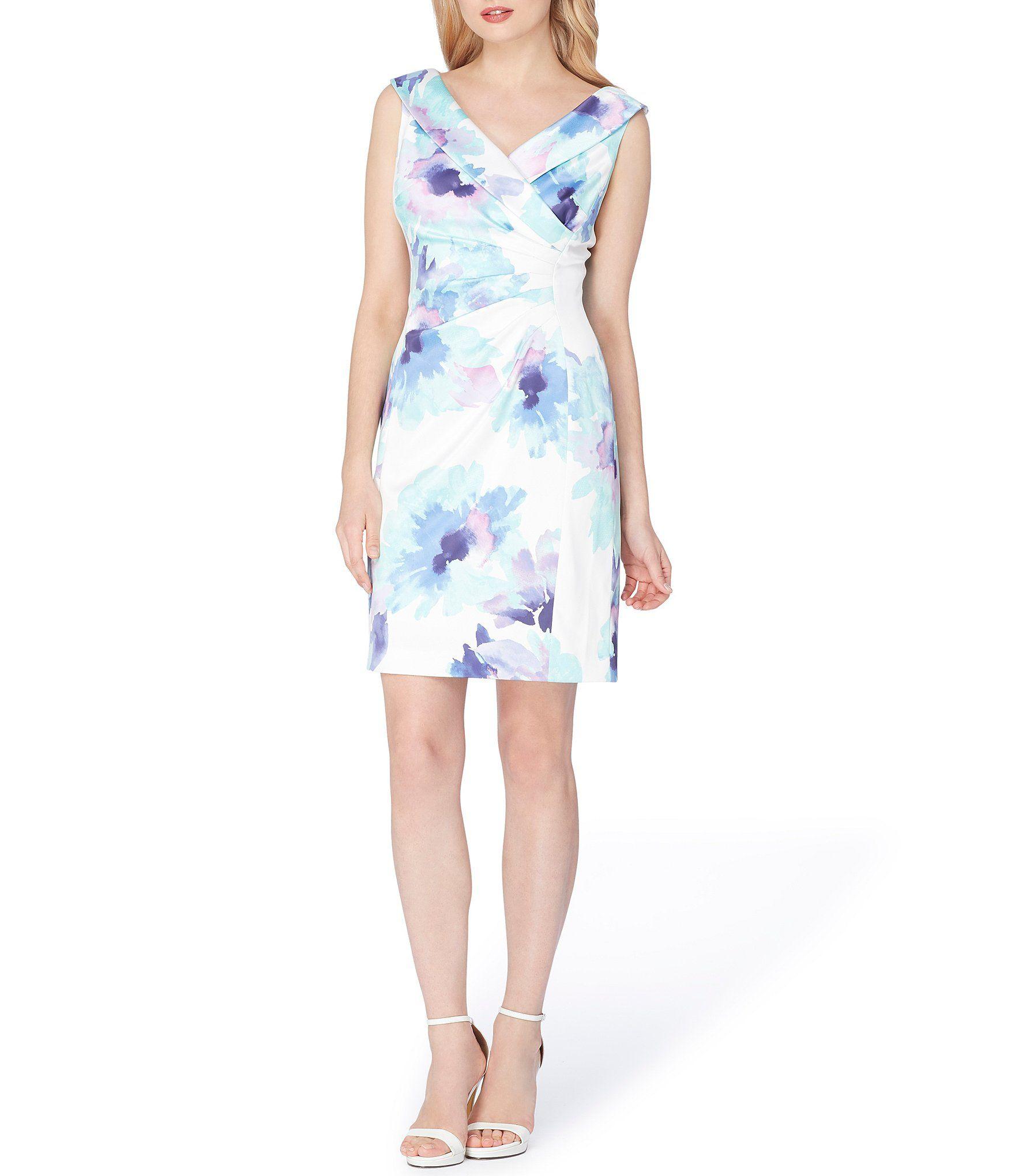7ed7b455adf5 Tahari ASL Floral Printed Stretch Satin Sheath Dress #Dillards ...
