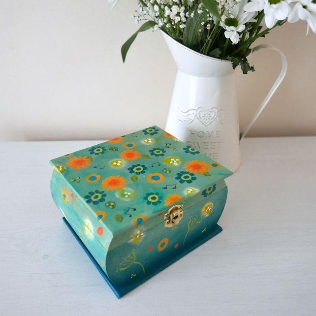 Decorative Boxes Storage Teal Storage Box Floral Handpainted Trinket Box Dandelion