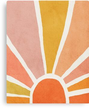 'Sun, Abstract, Mid century modern kids wall art, Nursery room' Canvas Print by juliaemelian