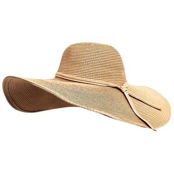 d625584e3fe1ac Tan Shapeable Wire Brim Oversize Beach Floppy Hat featuring polyvore,  women's fashion, accessories, hats, tan, crown hat, oversized hat, brimmed  hat, floppy ...
