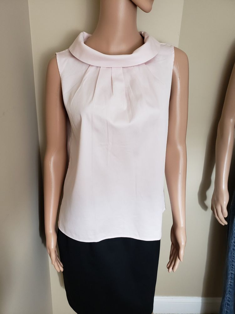 3c781fd616c62 Talbots Pink Collar Sleeveless 100% Cotton Blouse Top Shirt Womens Small   Talbots  Blouse