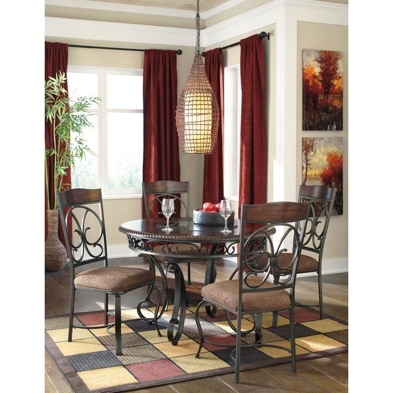 """This traditional dining set is centered around 44"""" round, cherry brown table.  Glambrey 5 Pc. Dining Set   Weekends Only Furniture and Mattress"""