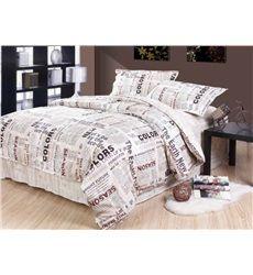 New Style Unique Newspaper Pattern 4 Piece Cotton Duvet Cover Sets
