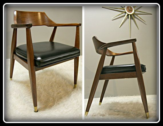 BLACK 60s Mid Century Modern Arm Chair ~ Mad Men ~Jasper Office Chair MADMEN