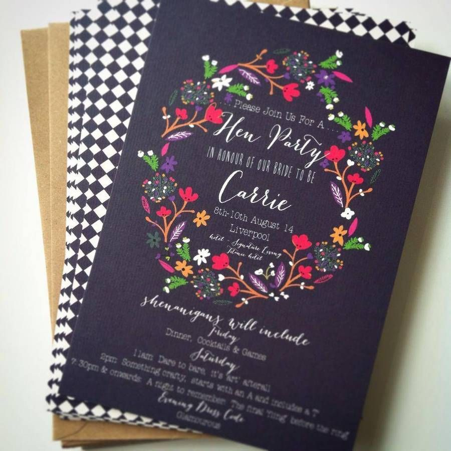 A vintage inspired floral design Hen Party Invitation. The Invite ...