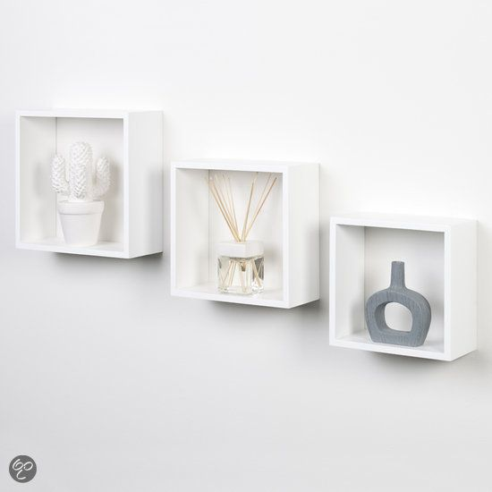 Duraline kubussen wanddecoratie set van 3 wit 24 99 euro de afmetingen van de drie - Toilet aan de muur ...