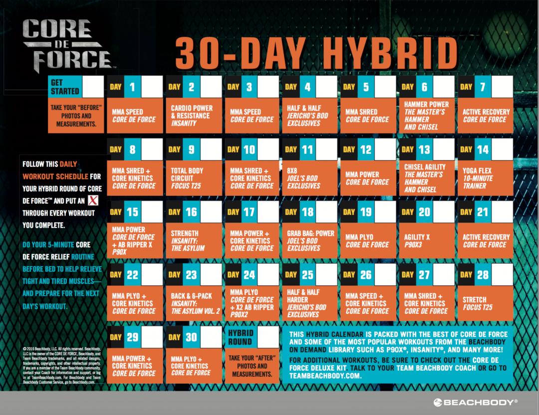 core de force calendar home workout schedules by scottie hobbs pinterest beachbody