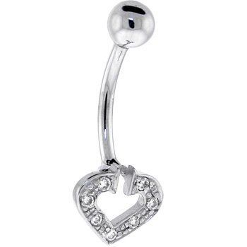 Solid 14kt White Gold Cubic Zirconia Paved Hollow Heart Belly Ring