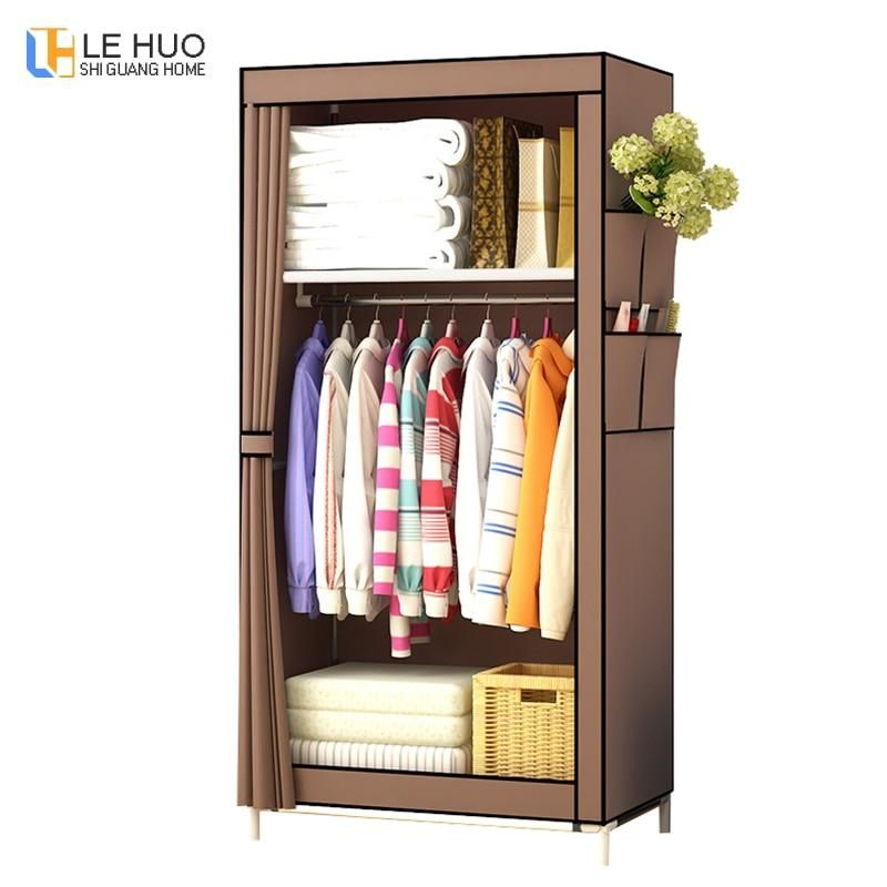 Dormitory Single Wardrobe Non Woven Steel Frame Reinforcement Standing Clothing Storage Organizer Cab Closet Furniture Wardrobe Closet Storage Wardrobe Storage