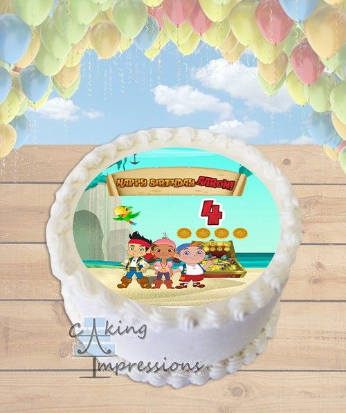 Sensational Jake And The Neverland Pirates Edible Image Cake Topper Round Funny Birthday Cards Online Elaedamsfinfo