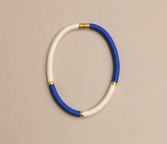 Color block textile rope necklace with brass blue and door BeataTe