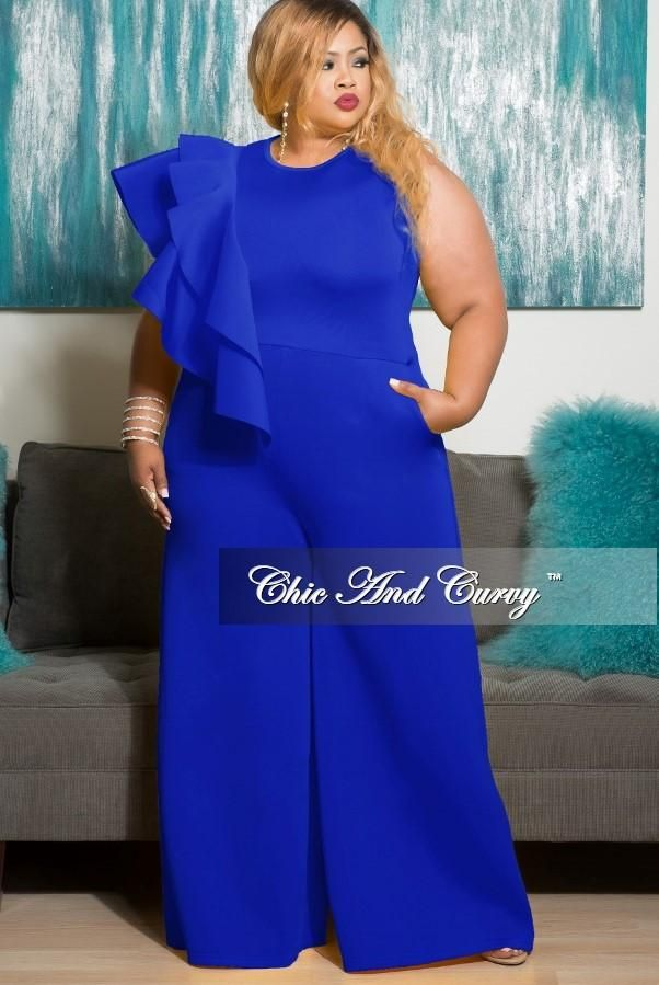 Plus Size Sleeveless Solid Scuba Jumpsuit with Front Ruffle ...