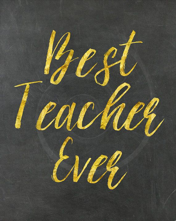 Gold Faux Foil Best Teacher Ever Quote by