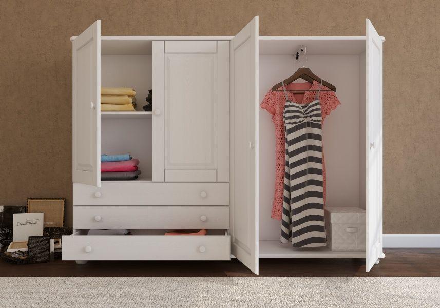 Margit low height wardrobe, 4 door, 3 drawer (White) Low