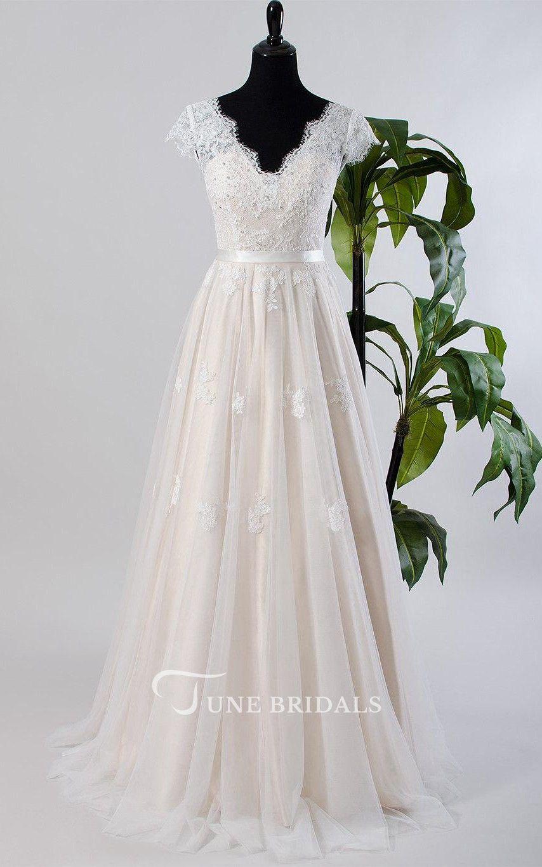 Cap sleeve tulle lace satin weddig dress with lowv back boho