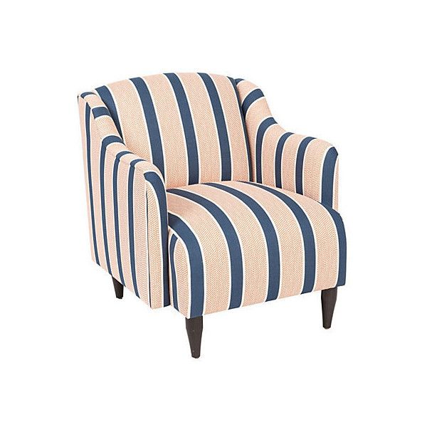 Kim Salmela Logan Striped Chair Navy/Coral Club Chairs (1,325 CAD) ❤ Liked