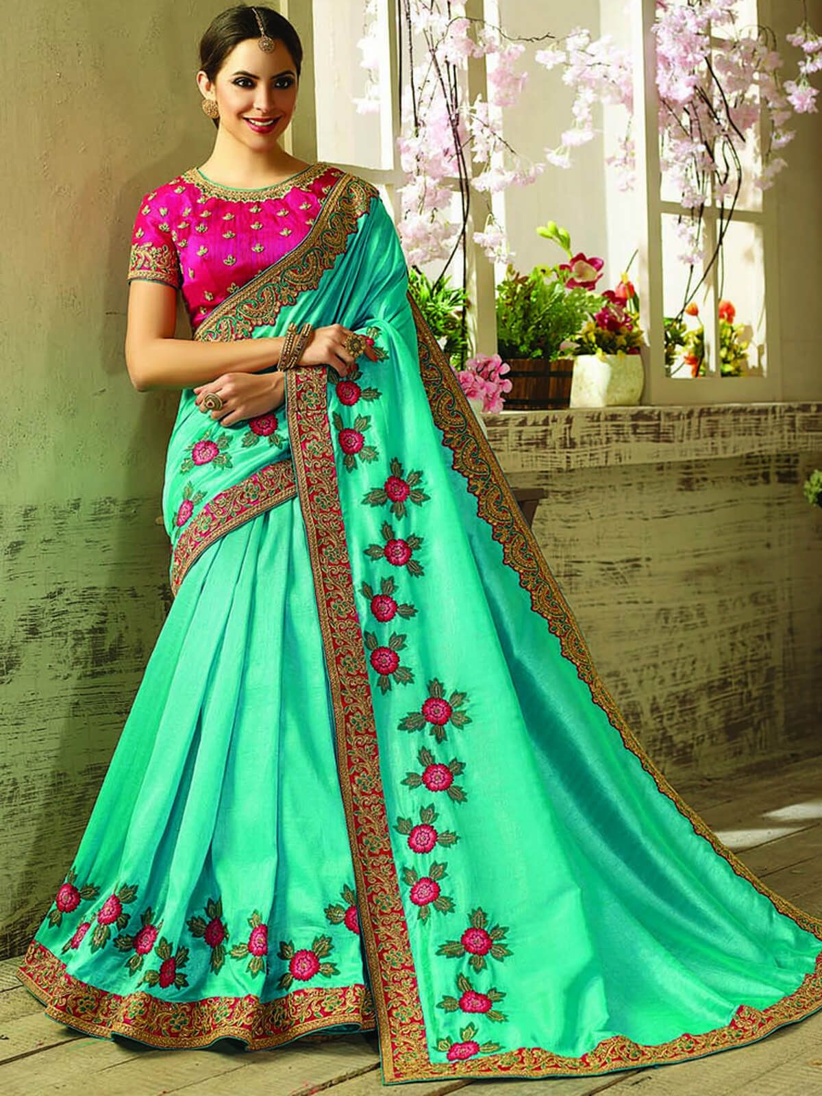 6b500096d6cad4 Refined multicolour georgette and silk ceremonial wear designer saree.  Having fabric georgette and silk. The beautiful border work and embroidery  work on ...