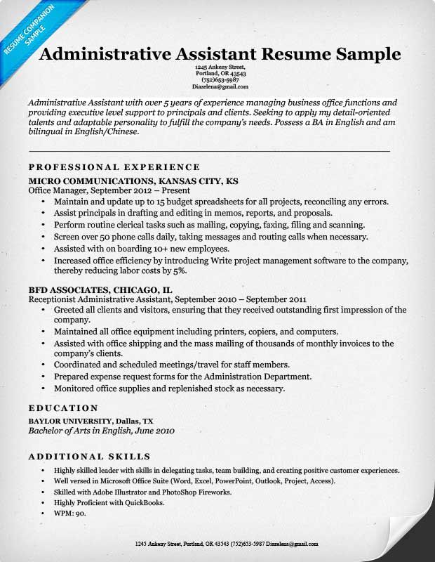 Sample Executive Assistant Resume Download The Free Administrative Assistant Resume Example Above