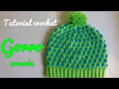 Como tejer a crochet o ganchillo gorro boina en punto de hojas y flores en  alto relieve - YouTube 1af88446562