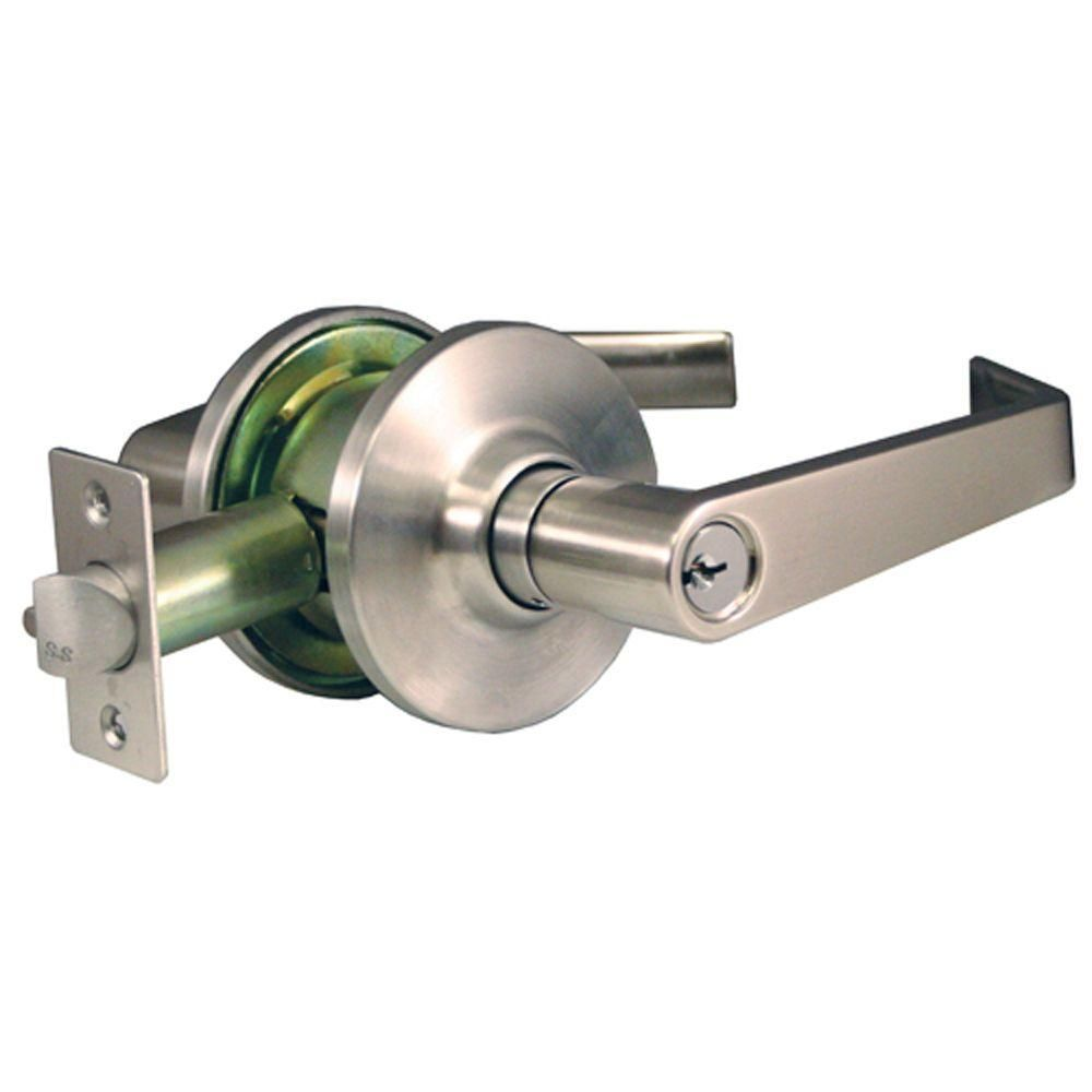 Global Door Controls Empire Style Commercial Storeroom Lever in Brushed Chrome