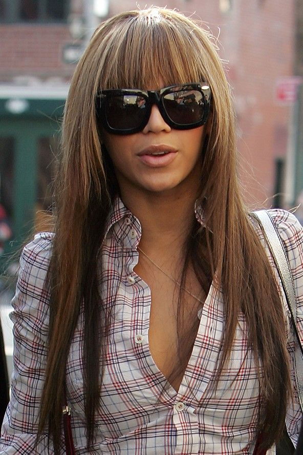 Beyonce long straight hair with blunt bangs | Straight ...