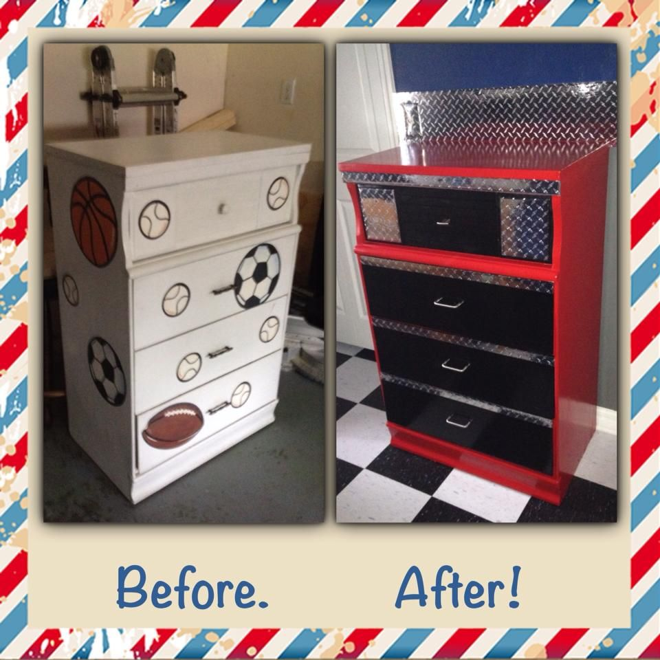 Vintage Dresser Remake Into A Toolbox For Garage Themed Room Used Red Acrylic Latex In Cherry Color And Black Gloss Sprayed The Drawer Fronts