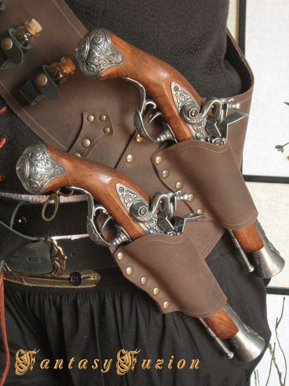 8fdf1c86a33 Pirate Steampunk LARP Leather Baldric Flintlock Gun Holsters with Flask and  Glass Vials