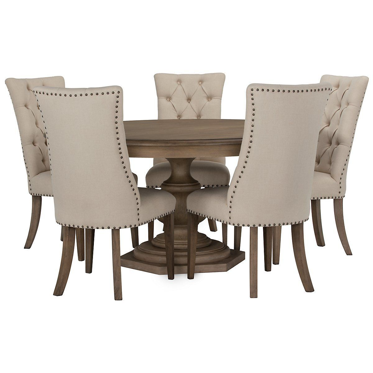Includes Round Dining Table And Four Upholstered Chairs Put