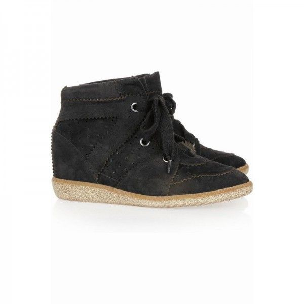 688386582bc UPERE Dobby Wedge Sneakers Suede Black