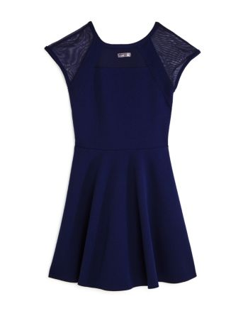 Sally Miller Girls' Shea Mesh-Sleeve Dress - Big Kid - Navy #sallymiller