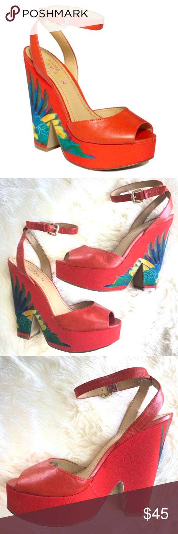 0d1ee5dcc2343 Nine West Troi Sandals Brasil Collection Floral Nine West Brasil Collection  Floral Platform Heels Size 8
