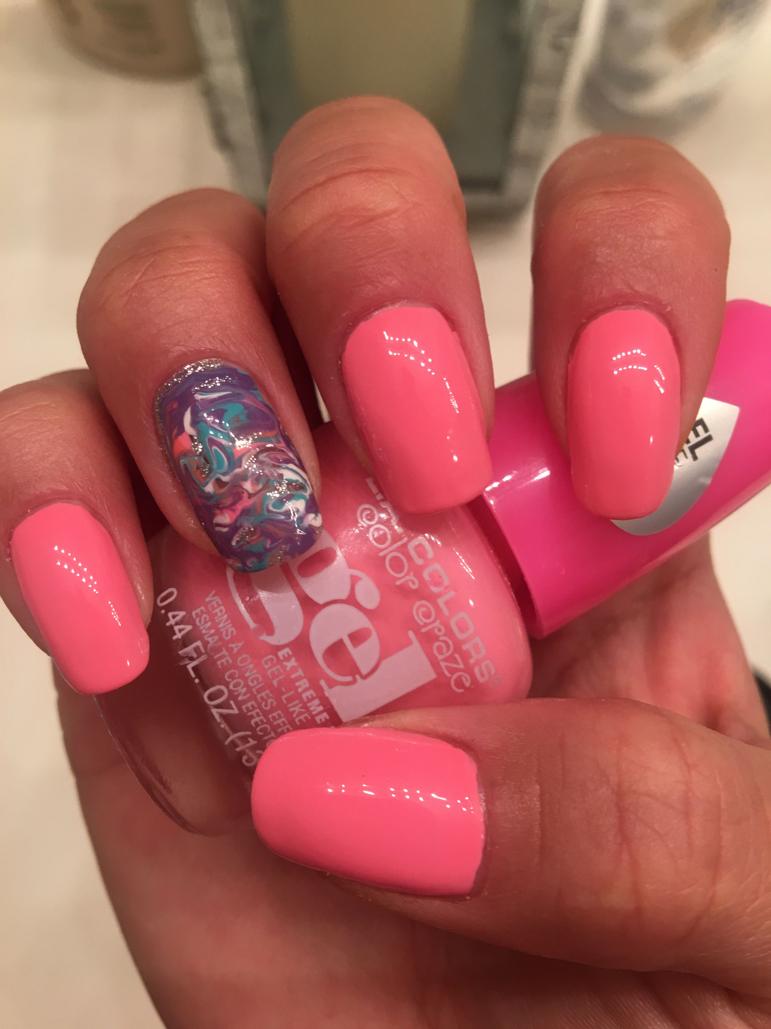 La colors gel polish in the hot pink color posh cute - Cute nail polish designs to do at home ...