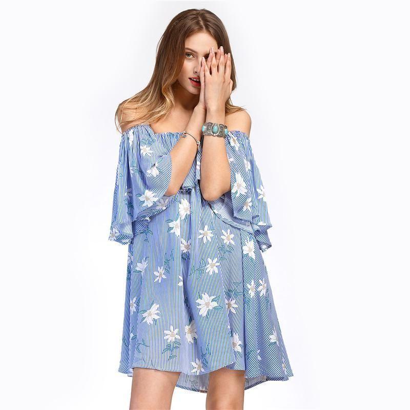 db00b0740b3 Blue White Vertical Striped Dress