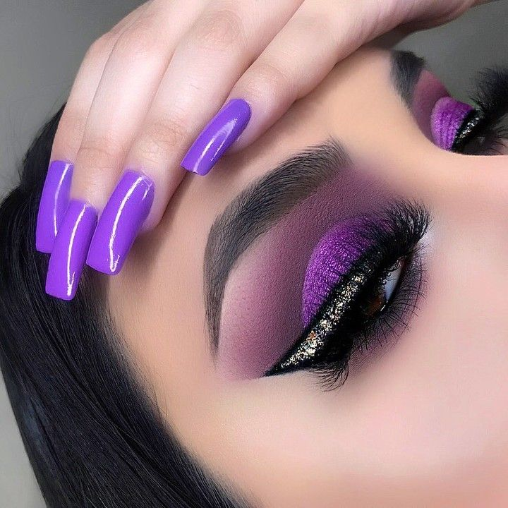 """Photo of L.A. Girl Cosmetics's Instagram photo: """"Comment '💜' if you love this look! 😍 @makeupbykay_19 creates this gorgeous purple eye look using many of products 💜 . Get the look: …"""""""