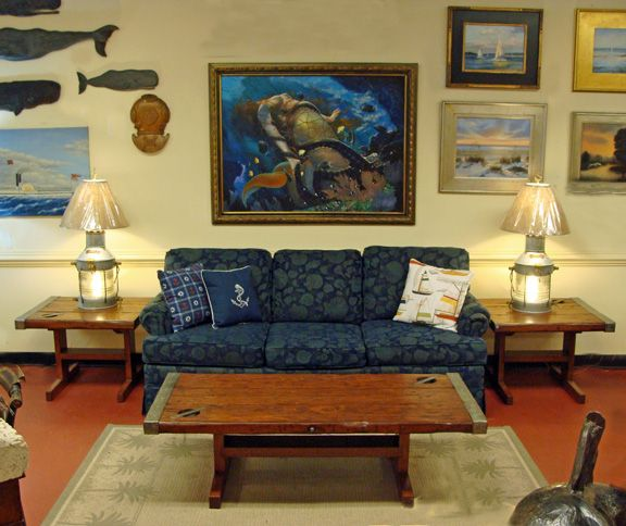 Nautical Coffee Table And Matching End Tables Made Using Authentic WWII Era Liberty Ship Hatch Covers