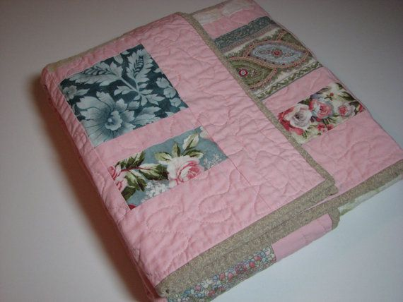 Quilted ThrowFaded Rose Shabby Chic by VillageQuilts on Etsy