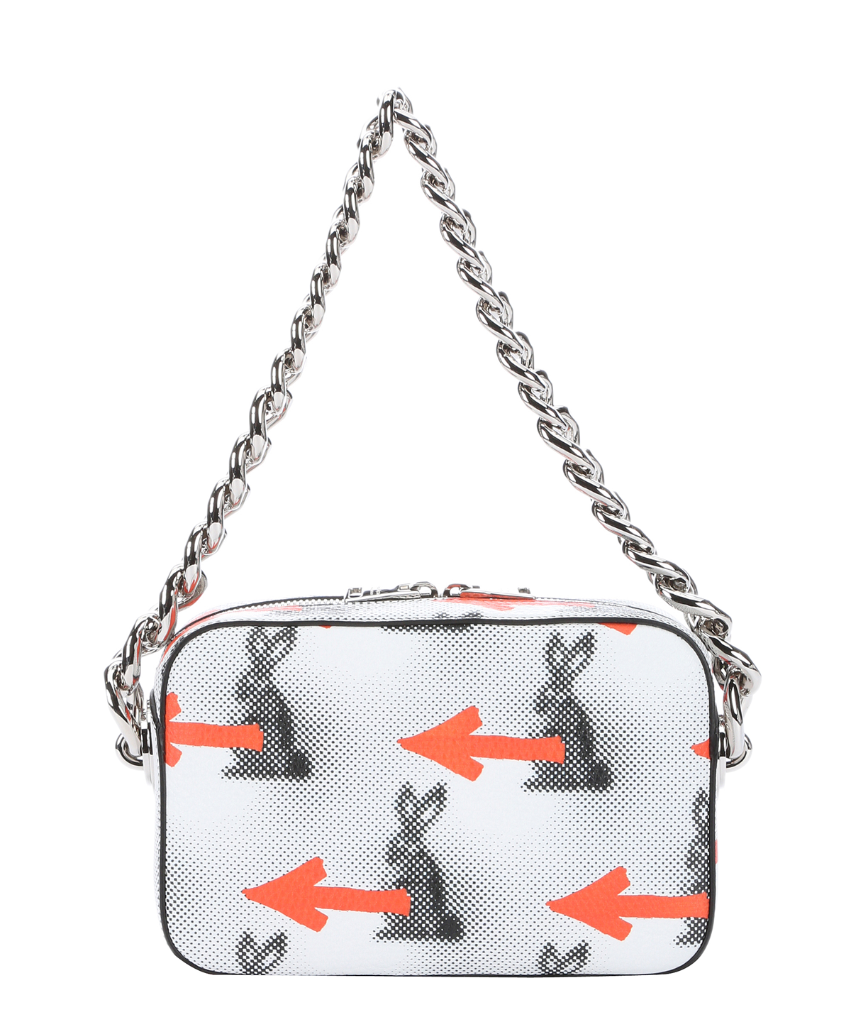563544a783cd PRADA Orange And White Bunny-Arrow Print Chain Shoulder Bag .  prada  bags  shoulder  bags  leather  lining