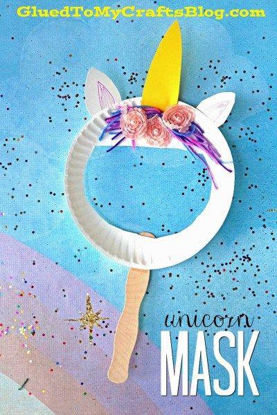 Paper Plate Unicorn Puppet Mask #unicorncrafts