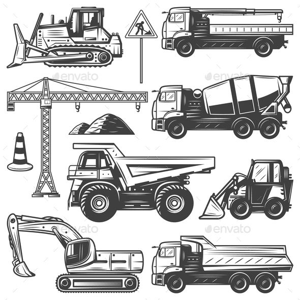Vintage construction machines set with bulldozers