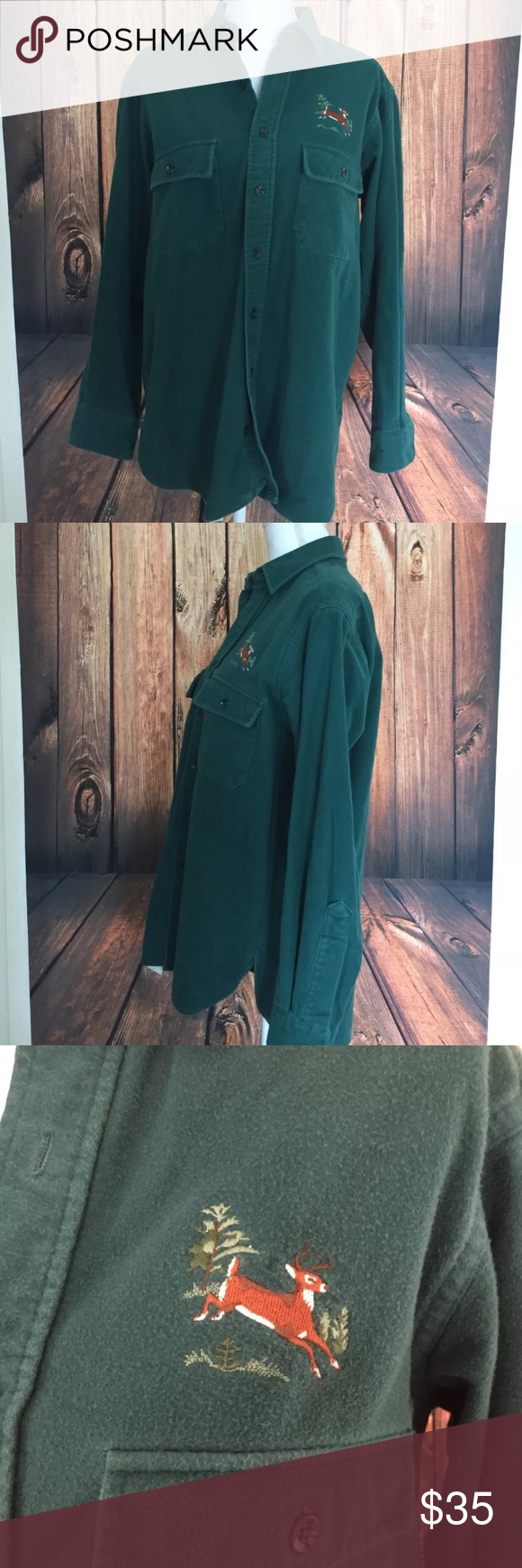 LL Bean Chamois shirt with deer embroidery