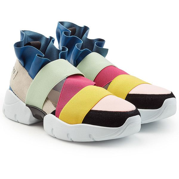 8a06ecfcd9e4 Emilio Pucci Ruffle Sneakers (2,210 SAR) ❤ liked on Polyvore featuring  shoes, sneakers, multicolored, multi color sneakers, rainbow sneakers, emilio  pucci ...