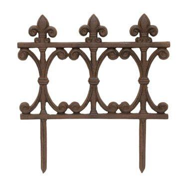 Cast Iron Fleur De Lis Border Fence Brown Decor Iron Fence