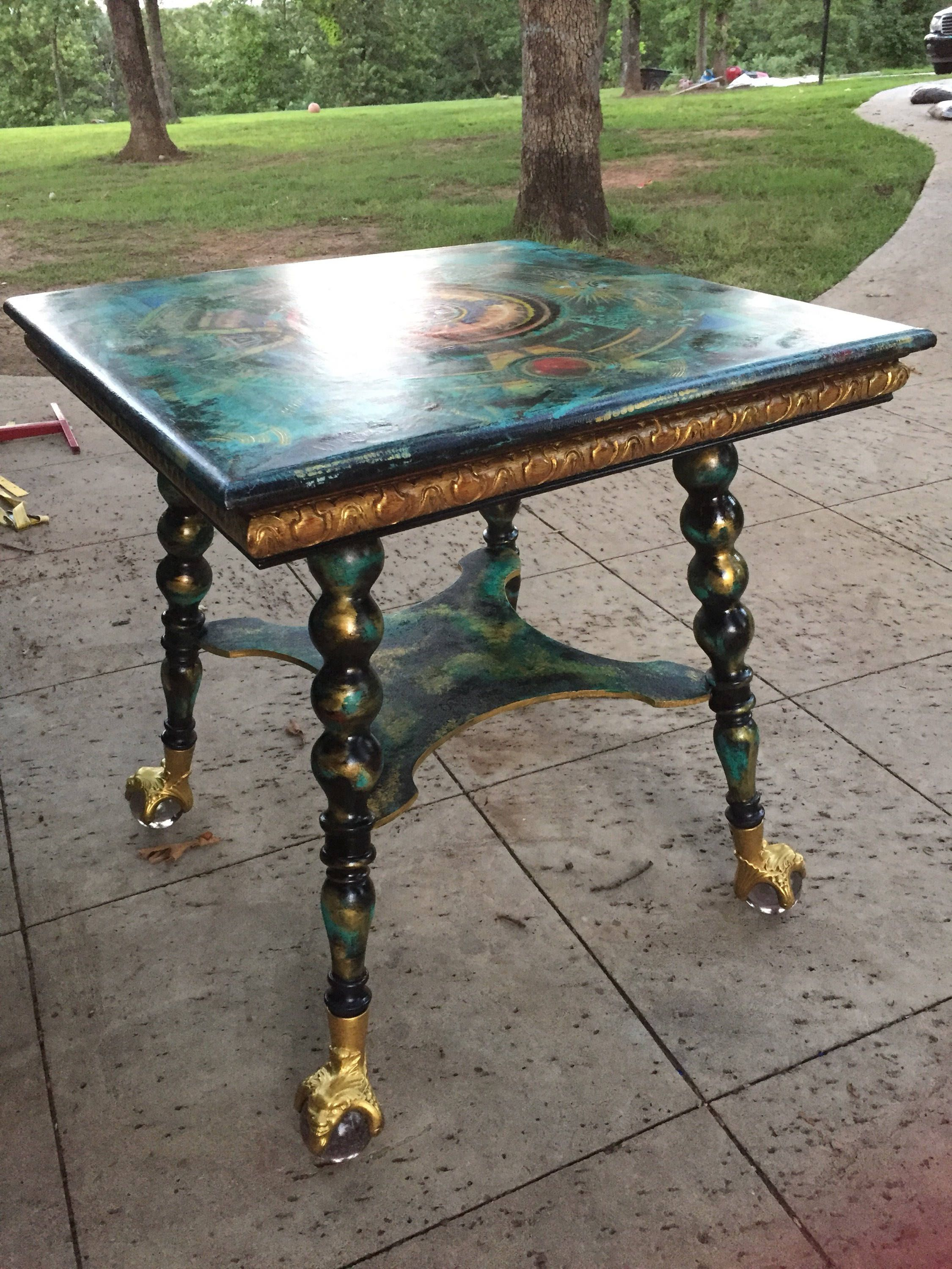 tarot spiritual table distressed hand painted unique on hand painted dining room tables id=34862