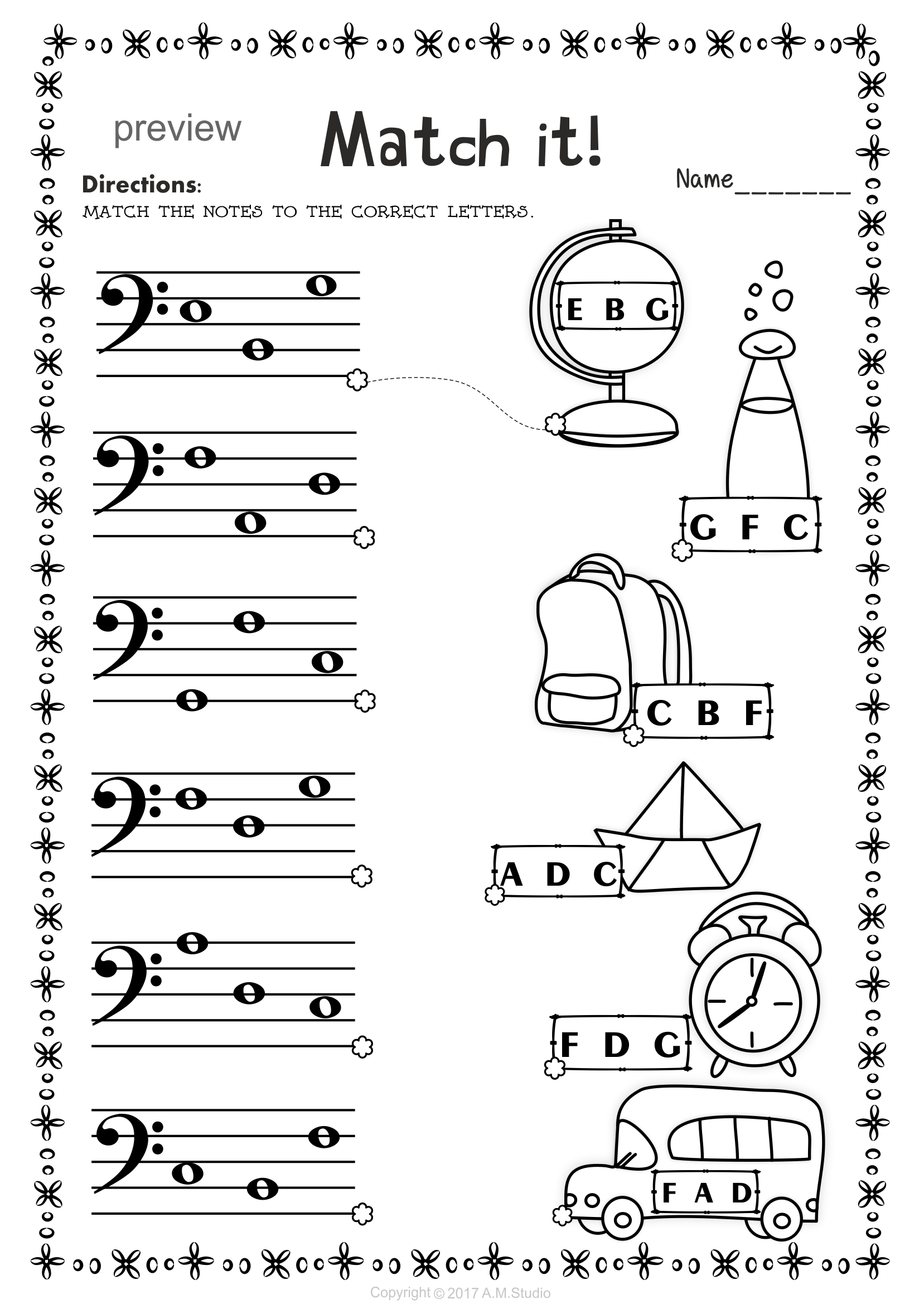 Back To School Bass Clef Note Naming Worksheets Partituras