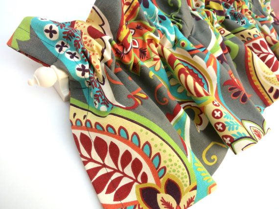 VANESSA Valance Curtains Paisley Orange Turquoise 53 Inches Wide Kitchen Window Valances Panels Treatments Fabric