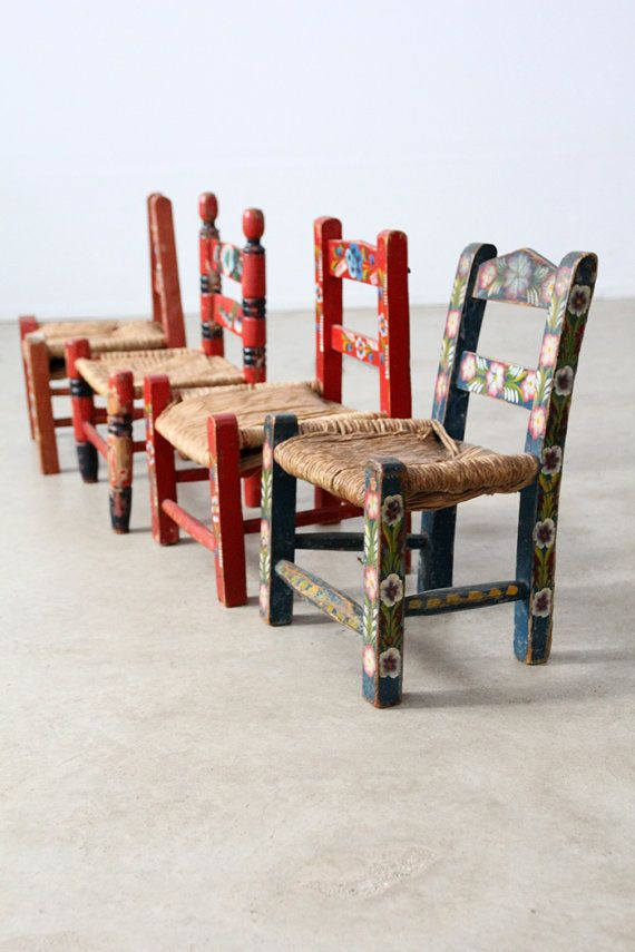 Vintage Kids Folk Art Chair Collection / Painted Rush Seat Childrenu0027s Chairs  On Etsy, $650.00
