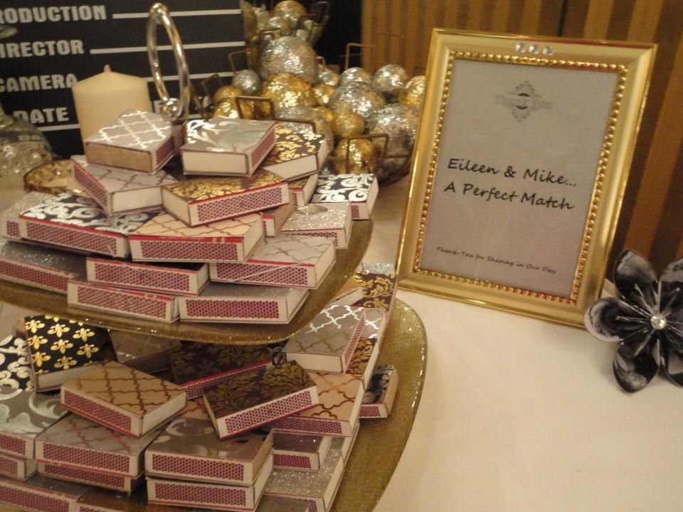 Glam Match Box Favors At Our Old Hollywood Glamour Themed Wedding