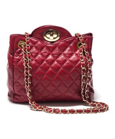 Look what I found on #zulily! Rosso Quilted Chain Leather Shoulder Bag #zulilyfinds